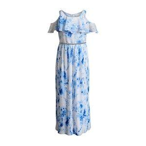 Girl's Blue Floral Formal Beaded Dress